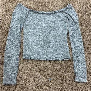 Hollister off-shoulder fitted long sleeve crop top